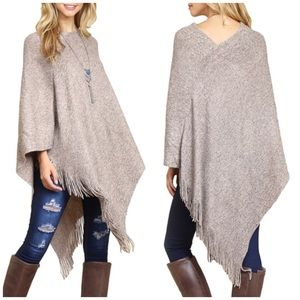 Fall must have fringes poncho. taupe